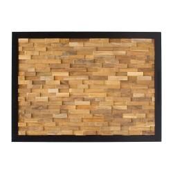 Cabecero de madera de teca recuperada y marco de forja