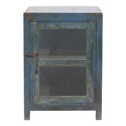Vitrina de madera de teca acabado azul