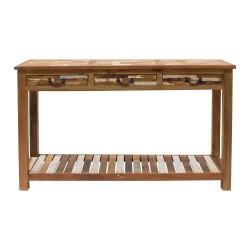 Consola de madera con tres cajones y balda