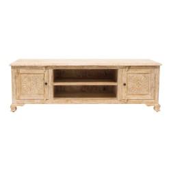 Mueble de televisión de madera con talla