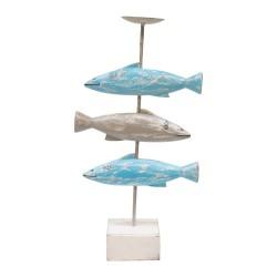 Candelabro de madera con peces acabado azul y gris