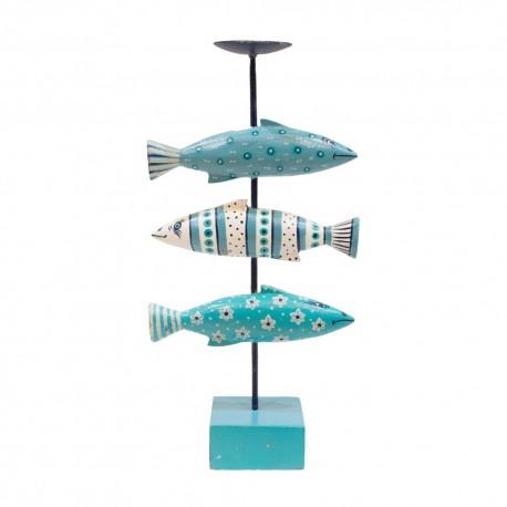 Candelabro de peces policromado