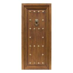 Puerta de madera antigua con clavos y llamador de bronce
