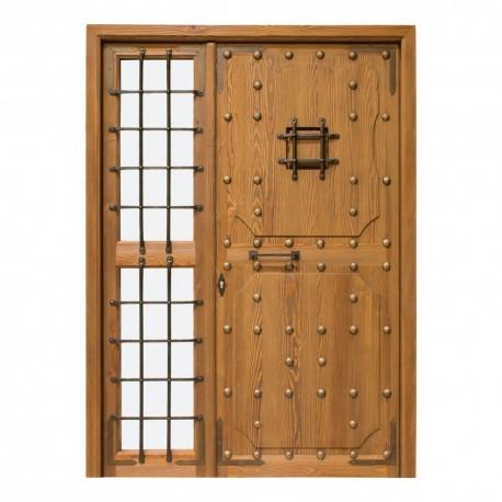 Puerta de madera exterior Castellana con fijo