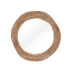 Espejo redondo marco de madera blanco decapé