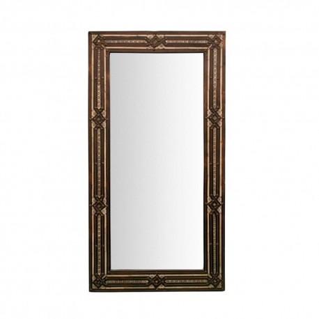 Espejo rectangular mozarabe de alpaca y hueso
