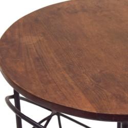Mesa auxiliar madera y forja estilo industrial