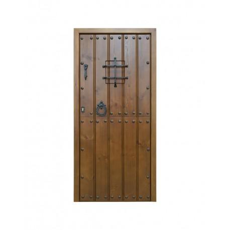 Puerta madera exterior modelo Alhambra partida