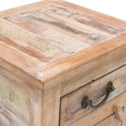 Mesita de noche de madera estilo vintage