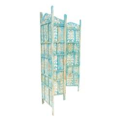 Biombo de madera acabado azul