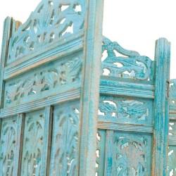 Biombo de madera calada azul