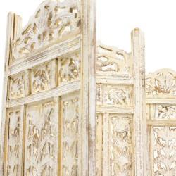 Biombo de madera calado acabado blanco
