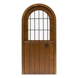 Puerta de madera exterior modelo Castillo cristalera