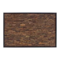 Cabecero de madera de teca recuperada acabado oscuro
