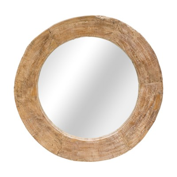 Espejo redondo con marco en madera