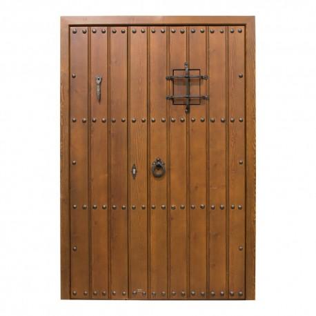 Puerta de madera de exterior modelo Alhambra fijo