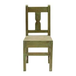 Silla de madera verde vintage