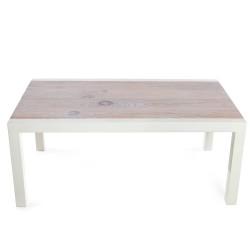 mesa de centro rectangular de madera maciza con patas rectas