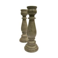 Portavelas madera color gris