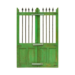 Cancela antigua verde de madera y forja