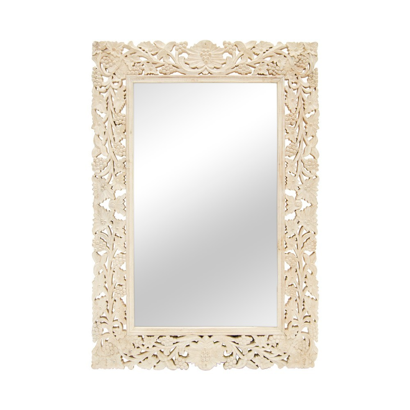 Espejo rectangular calado blanqueado