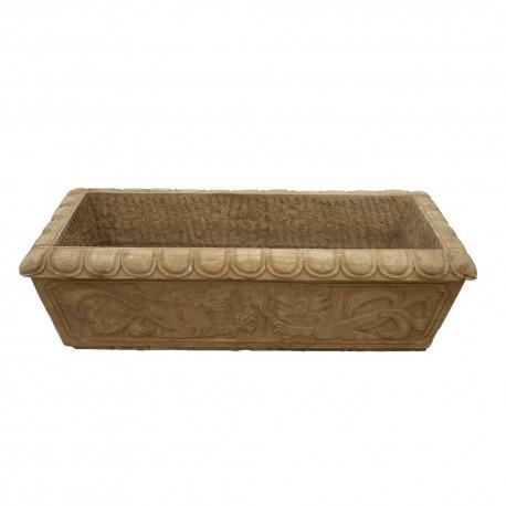Macetero de piedra tallada rectangular