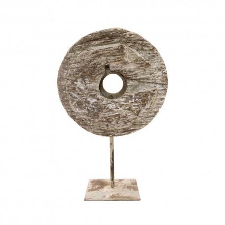 Rueda de madera con soporte