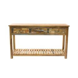 Consola de madera con balda inferior