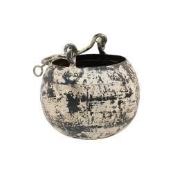 Cubo de hierro grande color crema