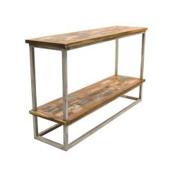 Consola madera y forja con balda