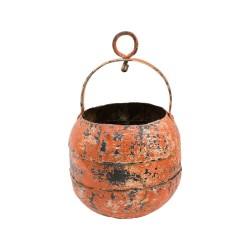 Cubo de hierro con asa y anilla naranja