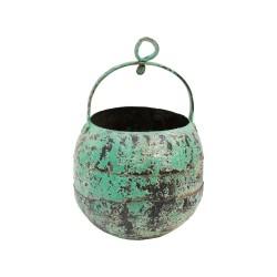 Cubo de hierro con asa y anilla turquesa
