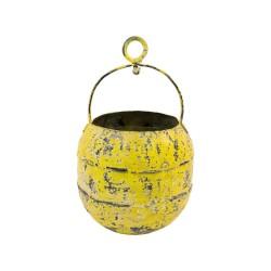 Cubo de hierro con asa y anilla amarillo
