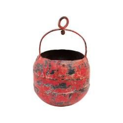 Cubo de hierro con asa y anilla rojo