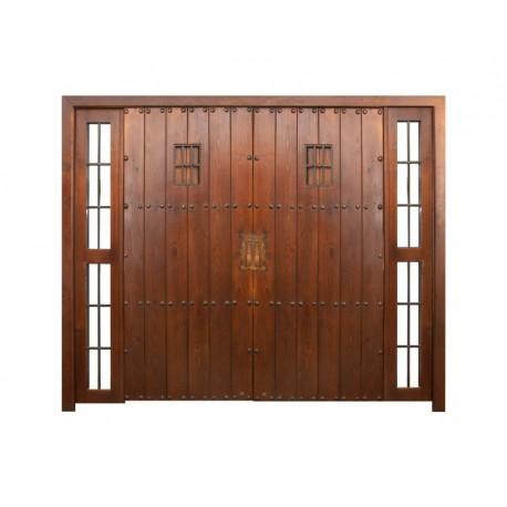 Puerta modelo León 2 hojas más fijo doble
