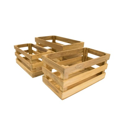Caja de madera de listones mediana