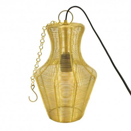 Lámpara con forma de jarrón dorada