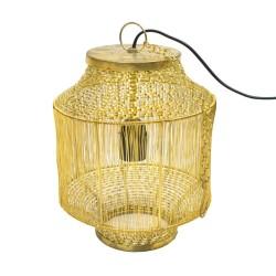 Lámpara forma de jaula dorada