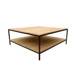 Mesa de centro madera duelada y forja
