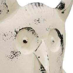 Figura búho metálico blanco