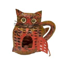 Candelabro gato color rojo
