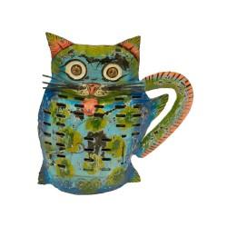 Candelabro gato color azul
