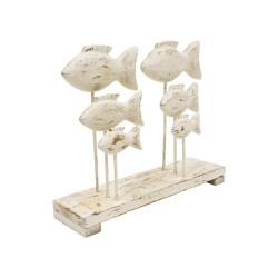 Figura blanco de peces de madera blanco