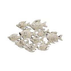 Banco peces metálico color blanco