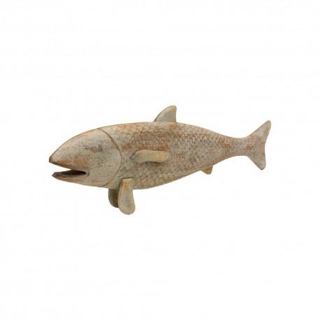 Figura pez madera gris