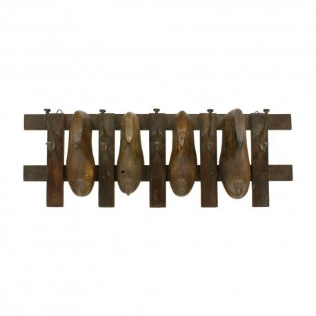 Percha de madera 4 hormas de zapatos