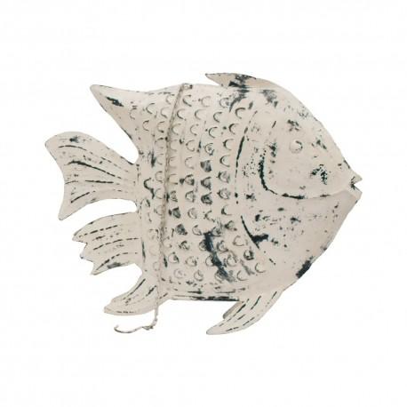 Candelabro pez metal blanco