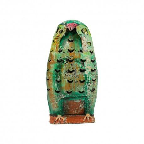 Candelabro búho verde mediano
