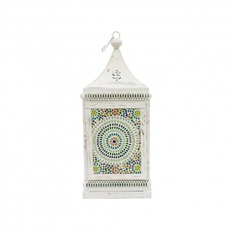 Farol chapa blanco con mosaico mediano