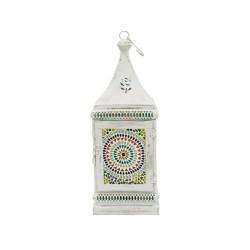 Farol chapa blanco con mosaico pequeño